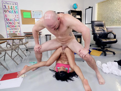 Black-skinned coed gives herself to her favorite teacher