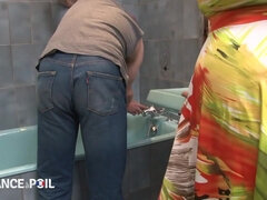 Plumber Gets Lucky When A Desperate Rides His Dick