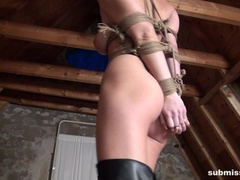 Ally on a string bound ballgagged tit-grabbed