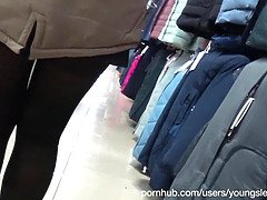 A girl with a beautiful ass in tight jeans got on a hidden camera in a dressing room at a mall.