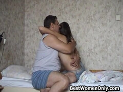 Old Russian Guy Fucks His 18-Years-Old Hairy Girl On Her Bed