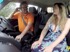 fake Driving college big British boobs one last lesson