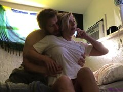 Blonde MILF and her stepson begin day with taboo sex