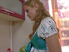 Hairy student Ira K enjoys playing in her kitchen