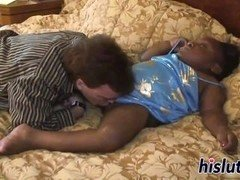 Midget ebony bimbo gets her cum bucket drilled
