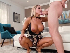 Blonde mature with big tits gets screwed hard by her young man