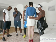 Hannah Vivienne debuts with interracial gangbang