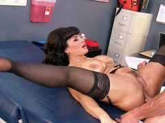A sexually available mom gets fucked by her patient in the nurses office in the cunt