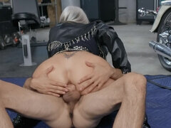 Big boobed granny Sally D'Angelo fucking young boy in the garage