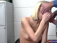Clueless blonde shoplifter gets punish fucked hard