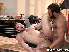RagingStallion moist Construction big black cock ass fucking