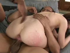 A couple of big fellas get down and dirty the horny white gal with a undersized body