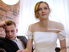 Hunt4k. cute teenie bride gets screwed for money in front