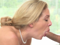 Freshly bathed and besides horny soccer mom Cherie Deville gets down and dirty to him
