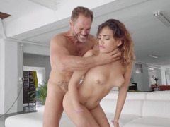 Fat cock fucks the Latina girl hard from behind
