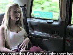Blonde Brit gives rimjob & have an intercourse in fake cab