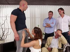 Brilliant gal can satisfy four men at a single time in dirty group act