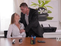 Irresistible office babe Suzie fucks on the table