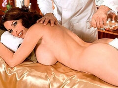Cute soloing brunette with giant boobs Goldie Blair takes her toy