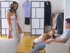 Public threesome on a shop sofa with Dominica Phoenix & Tyra Moon