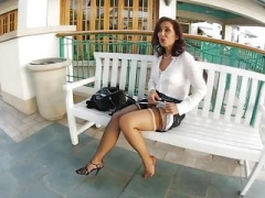 Modifying Her Nylons in Public