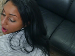 This lustful ebony babe surely knows how to appease her excited boss