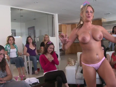 Sexy bachelorette and besides her friends sucking cocks at the party