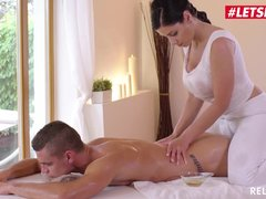 Big-boobied masseuse is fucked by client
