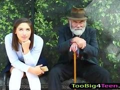 Schoolgirl Abella Danger muff screwed at the bus stop