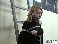 sugary light-haired bound up for vibrator domination