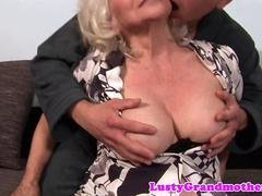 Very mature grandma fucks with a young stud