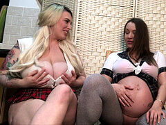 Big breast knocked up and milky Friend Play With each other