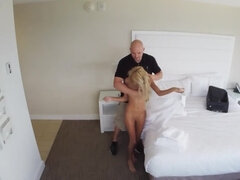 Blonde chick and bald boyfriend have morning sex in hotel room