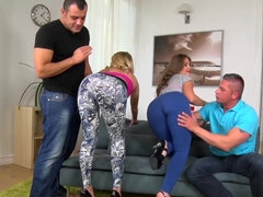 Silvia Burton & Aria Logan swapped by two dick's in a foursome orgy