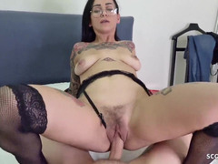 Nerdy brunette with tattoos fucked in ass on camera