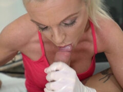 Mature maid Franny with big fake tits gives blowjob and gets fucked