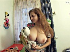 Charming russian teenage  with a sizeable set of natural titties