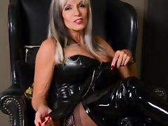 Female domination session for obedient guy by sexy grown-up woman in leather