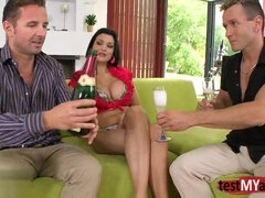 Champagne party and threesome orgy