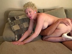 A blonde granny gets naked and plus fucked likewise here