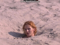 Ginger Chubby Girl Falls In The Sand And Takes All Clothes Off