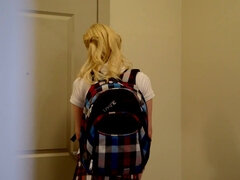 Naughty blonde schoolgirl gets anally punished