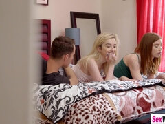 Redhead stepsister joins her blond hair babe friend and stepbro