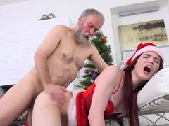 Santa girl Lovenia Lux gets fucked by an old man