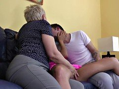 Granny fucked by lucky boy and also his Female friend