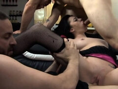 Raven-haired babe gets double-teamed by two hung studs