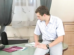 Office orgy with uber-cute crossdresser