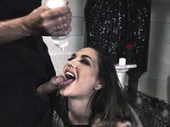 Breasty goth ink babe throats and furthermore pussy fucked by big cock