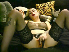 goth gal in Bullet Belt Smokes Joint, Ben Wa Ball, multiple Orgasms