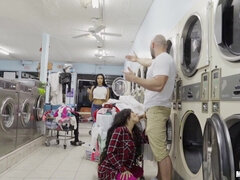 Posh And Shameless Latina Gives Head In Public Laundromat